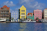 blue stock photography | Cura�ao, Willemstad, Handelskade waterfront, historic buildings, image id 3-436-3