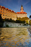 tower stock photography | Czech Republic, Cesky Krumlov, Cesky Krumlov castle and the Vlatava River, image id 4-960-1027