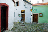 green stock photography | Czech Republic, Cesky Krumlov, Street Scene, image id 4-960-1099