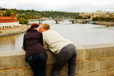 vlatava river stock photography | Czech Republic, Prague, Charles Bridge, couple, image id 4-960-29