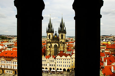 image 4-960-290 Czech Republic, Prague, Tyn Cathedral seen from Old Town Hall
