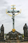 vlatava river stock photography | Czech Republic, Prague, Charles bridge, Crucifix, image id 4-960-35