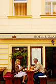 two people stock photography | Czech Republic, Prague, Outdoor cafe, image id 4-960-624
