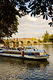 town stock photography | Czech Republic, Prague, Sightseeing boat on the River Vlatava, image id 4-960-634