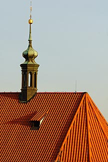 4-960-6396  stock photo of Czech Republic, Prague, Orange tile rooftop of St Nicholas Church