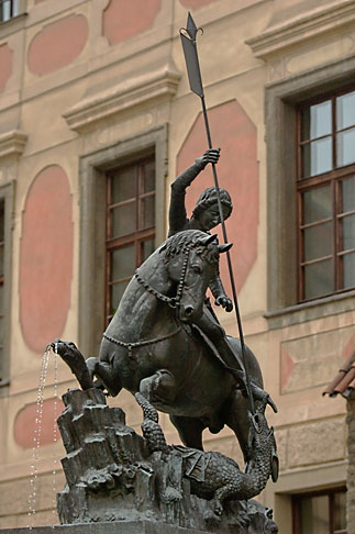 image 4-960-6541 Czech Republic, Prague, Hradcany Castle, Statue of St George slaying the dragon
