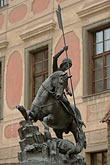 risk stock photography | Czech Republic, Prague, Hradcany Castle, Statue of St George slaying the dragon, image id 4-960-6541