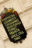 restaurant sign stock photography | Czech Republic, Prague, Restaurant menu, image id 4-960-6589