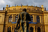 city hall stock photography | Czech Republic, Prague, Rudolfinum concert hall and statue of Antonin Dvorak, image id 4-960-6759