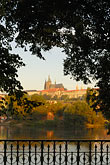 hillside stock photography | Czech Republic, Prague, Hradcany castle and River Vlatava, image id 4-960-6771