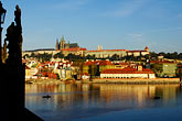 view from castle stock photography | Czech Republic, Prague, View from Charles Bridge to Hradcany Castle, image id 4-960-6861