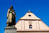 facade stock photography | Czech Republic, Tabor, Church and statue of John Huss, image id 4-960-6923