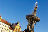 plaza stock photography | Czech Republic, Ceske Budejovice, Samson Fountain, main square, image id 4-960-6939