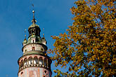 horizontal stock photography | Czech Republic, Cesky Krumlov, Castle Round Tower, image id 4-960-7072