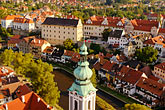 view stock photography | Czech Republic, Cesky Krumlov, St. Jost Church and town, image id 4-960-7073