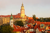 village church stock photography | Czech Republic, Cesky Krumlov, Cesky Krumlov castle and town, image id 4-960-7199