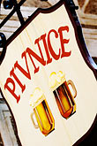 pilsner beer stock photography | Czech Republic, Cesky Krumlov, Beer sign, image id 4-960-7233