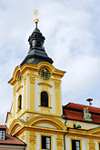 town hall clock tower stock photography | Czech Republic, Pisek, Town hall, Radnice, image id 4-960-7332