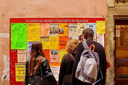 image 4-960-7396 Czech Republic, Prague, Posters announcing music concerts