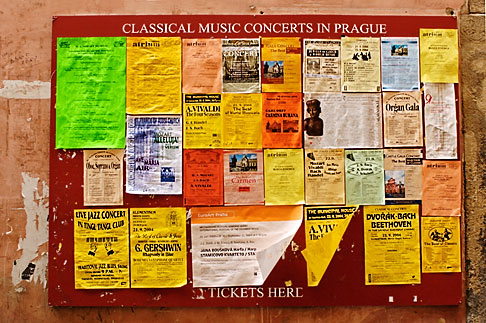 image 4-960-7398 Czech Republic, Prague, Posters announcing music concerts
