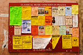 czech republic stock photography | Czech Republic, Prague, Posters announcing music concerts, image id 4-960-7398