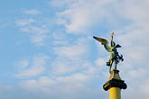 blue sky stock photography | Czech Republic, Prague, Statue of torch-bearer, Cechuv Bridge, image id 4-960-7442