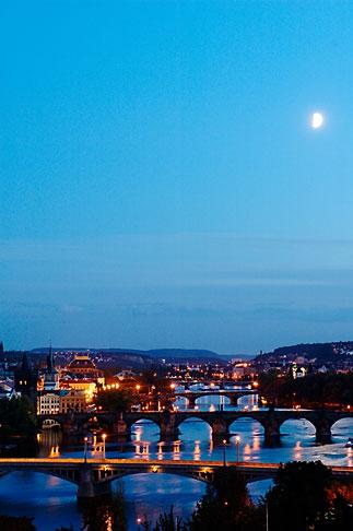 image 4-960-7474 Czech Republic, Prague, Bridges on the River Vlatava in the moonlight