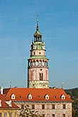 quaint stock photography | Czech Republic, Cesky Krumlov, Castle Round Tower, image id 4-960-984