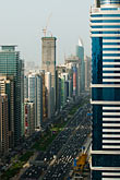 sheikh zayed road stock photography | United Arab Emirates, Dubai, Sheikh Zayed Road and Dubai business district, high angle view, image id 8-730-1529