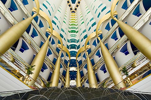 image 8-730-560 United Arab Emirates, Dubai, Burj Al Arab, interior of lobby atrium