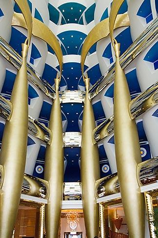 image 8-730-584 United Arab Emirates, Dubai, Burj Al Arab, interior of lobby atrium