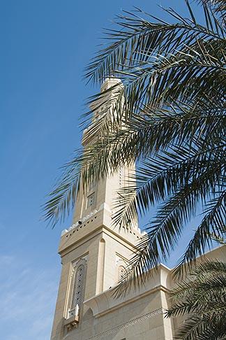 image 8-730-9021 United Arab Emirates, Dubai, Mosque minaret with palms, Jumeirah