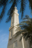 muslim stock photography | United Arab Emirates, Dubai, Mosque minaret with palms, Jumeirah, image id 8-730-9023