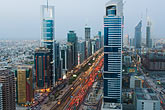 sheikh zayed road stock photography | United Arab Emirates, Dubai, Sheikh Zayed Road and Dubai business district, high angle view, image id 8-730-9092