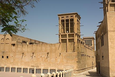 image 8-730-9331 United Arab Emirates, Dubai, Wind towers and courtyard, Bastakiya Quarter, restored historic site