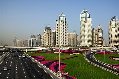 image 8-730-9936 United Arab Emirates, Dubai, Dubai Marina, Sheikh Zayed Road freeway interchange