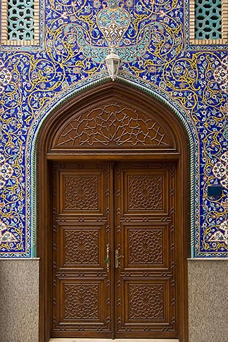 image 8-730-9937 United Arab Emirates, Dubai, Blue tiled doorway, Iranian Mosque, Bur Dubai