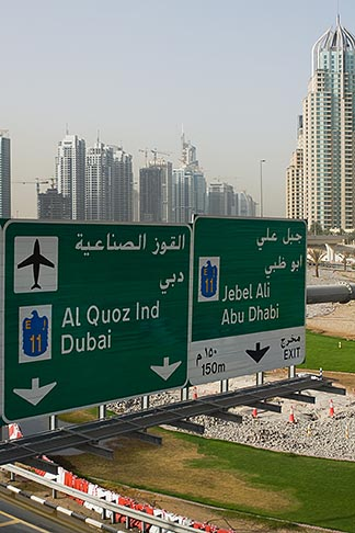 image 8-730-9955 United Arab Emirates, Dubai, Dubai Marina, Sheikh Zayed Road freeway interchange