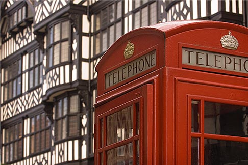 image 7-690-7403 England, Chester, Telephone box and Tudor house