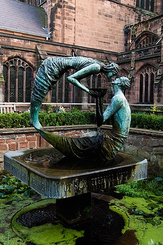 image 7-695-31 England, Chester, Chester Cathedral, Water of Life, bronze sculpture