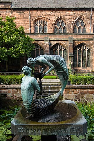 image 7-695-39 England, Chester, Chester Cathedral, Water of Life, bronze sculpture