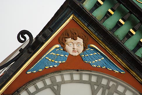 image 7-695-7349 England, Chester, Eastgate Clock, angel decorations