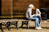 horizontal stock photography | England, Chester, Couple kissing in park, image id 7-695-7412
