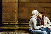 horizontal stock photography | England, Chester, Couple kissing in park, image id 7-695-7416