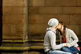 horizontal stock photography | England, Chester, Couple kissing in park, image id 7-695-7417