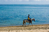 man on beach stock photography | Fiji, Viti Levu, Horseback riding on beach, image id 5-610-2733