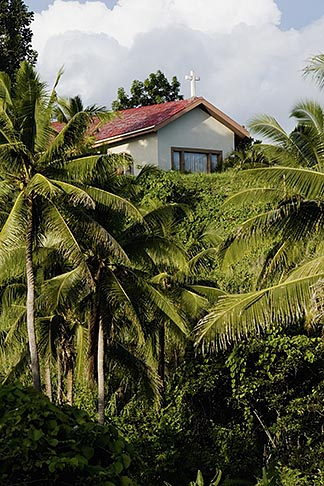image 5-610-9281 Fiji, Church and palm trees
