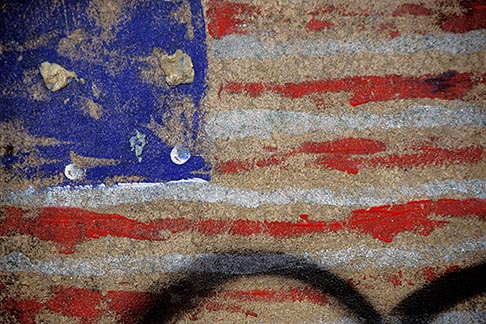 image 3-166-37 Flags, Painted flag on wall