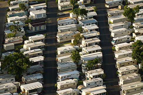 image 7-672-6807 Florida, Miami, Mobile homes in trailer park, Aerial view