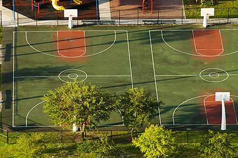 image 7-672-6818 Sports, Basketball courts, aerial view